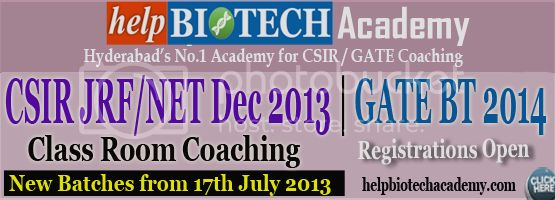 helpBIOTECH CSIR JRF/NET Decmber 2013 GATE BT 2014 Coaching